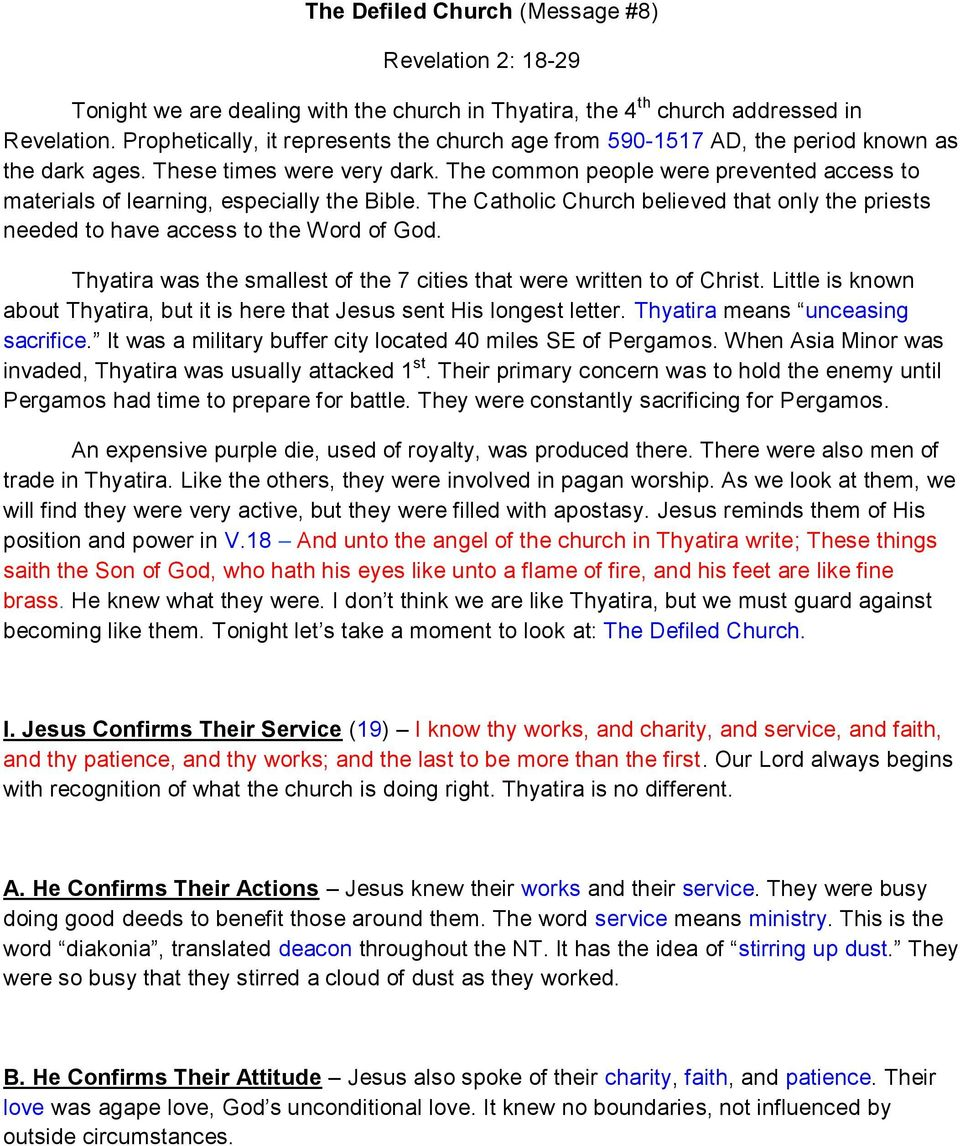 The Defiled Church (Message #8) Revelation 2: PDF