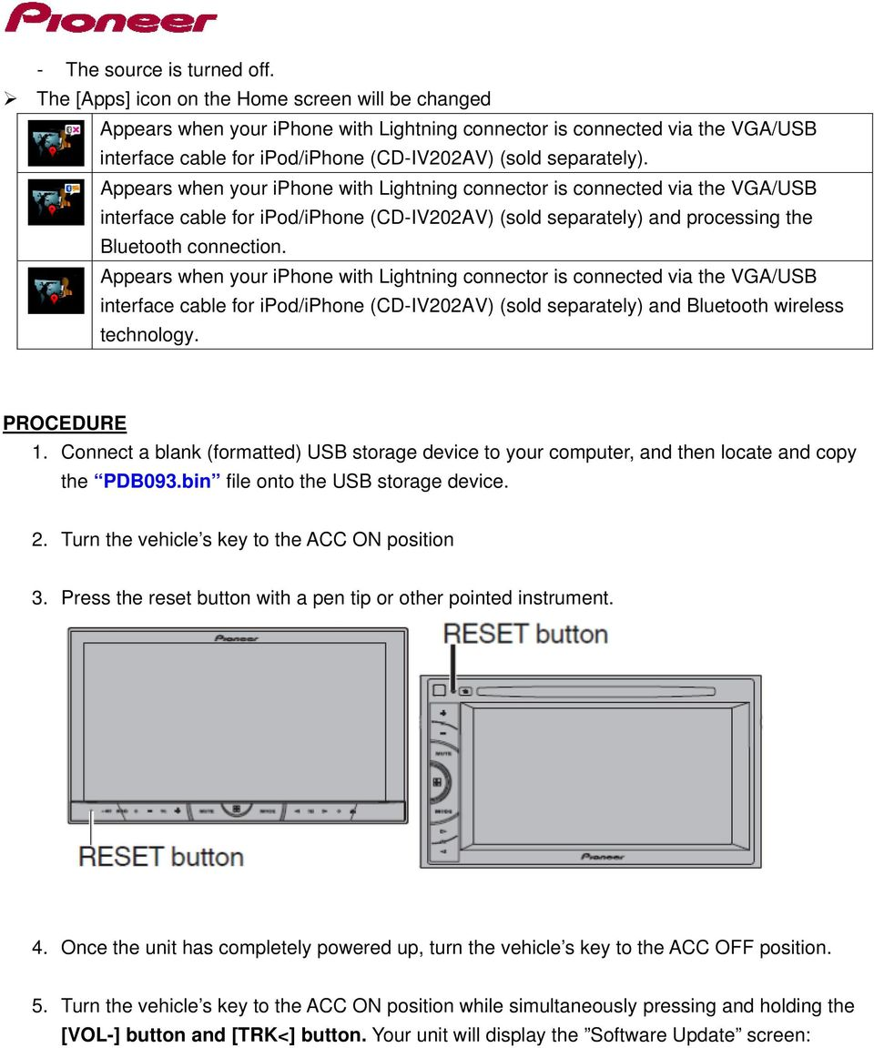 AVH-X4500BT and AVH-X2500BT Firmware Update for iphone 5