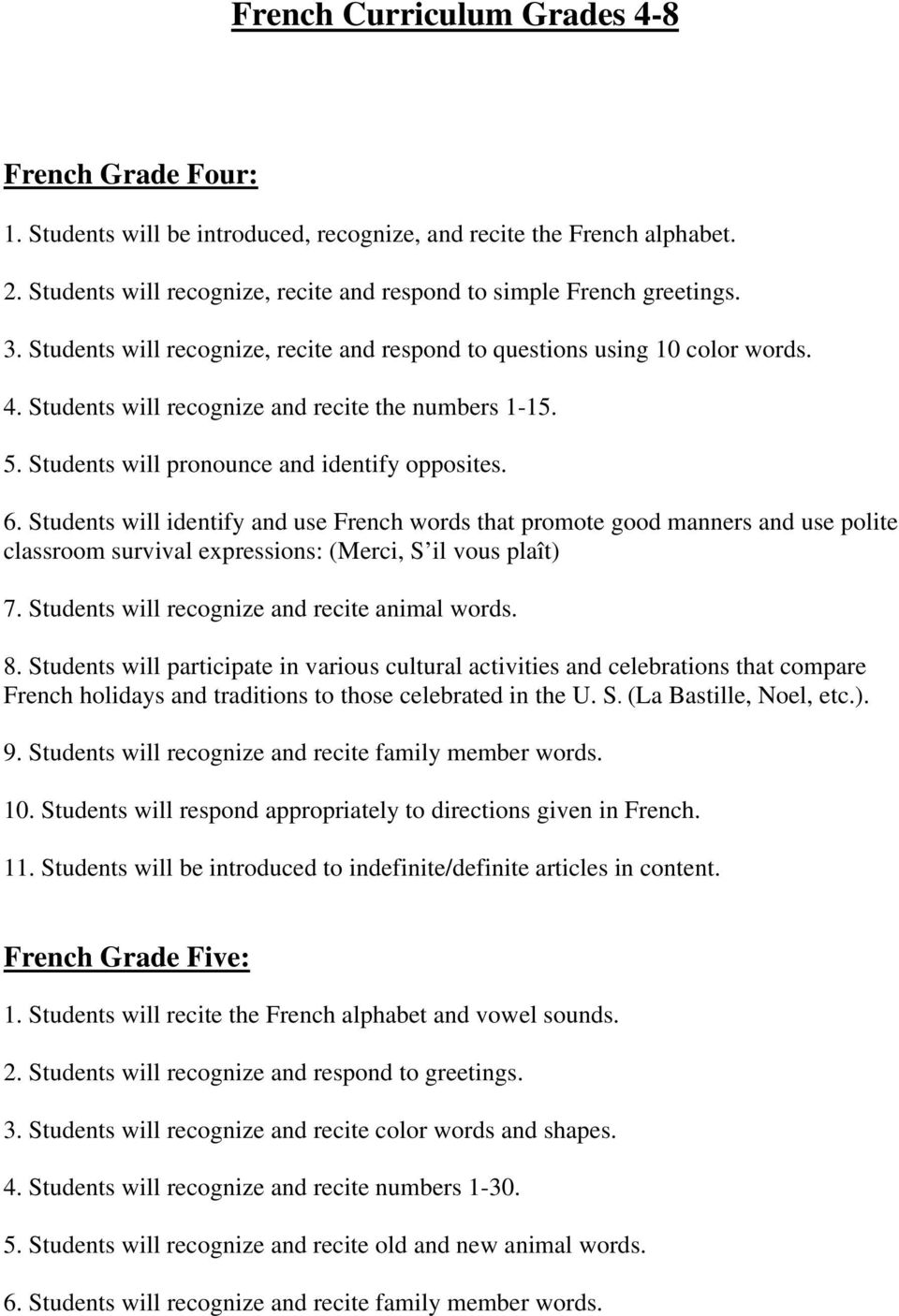 French curriculum grades pdf students will identify and use french words that promote good manners and use polite classroom survival m4hsunfo