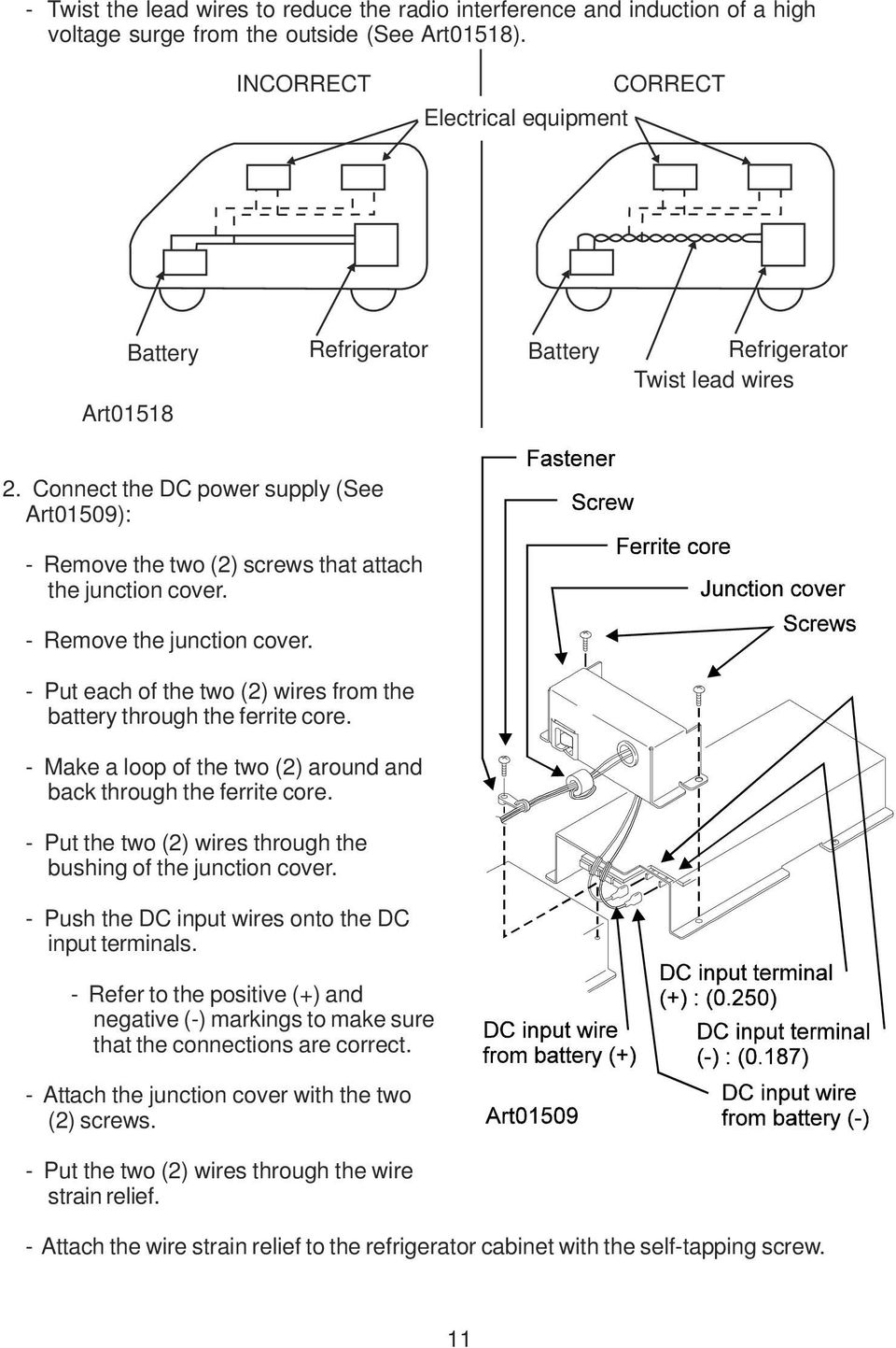 Dc Refrigerators 12 24 Volts Installation And Owner S Manual Pdf Norcold Ac Refrigerator Schematics Connect The Power Supply See Art01509 Remove Two 2