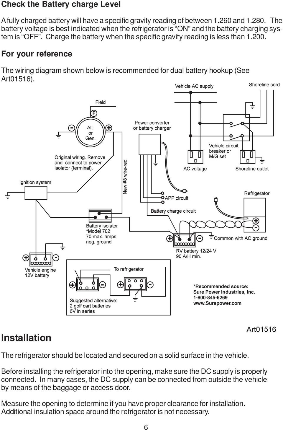 Dc Refrigerators 12 24 Volts Installation And Owner S Manual Pdf Wiring Diagram For Dual Rv Batteries Your Reference The Shown Below Is Recommended Battery Hookup See