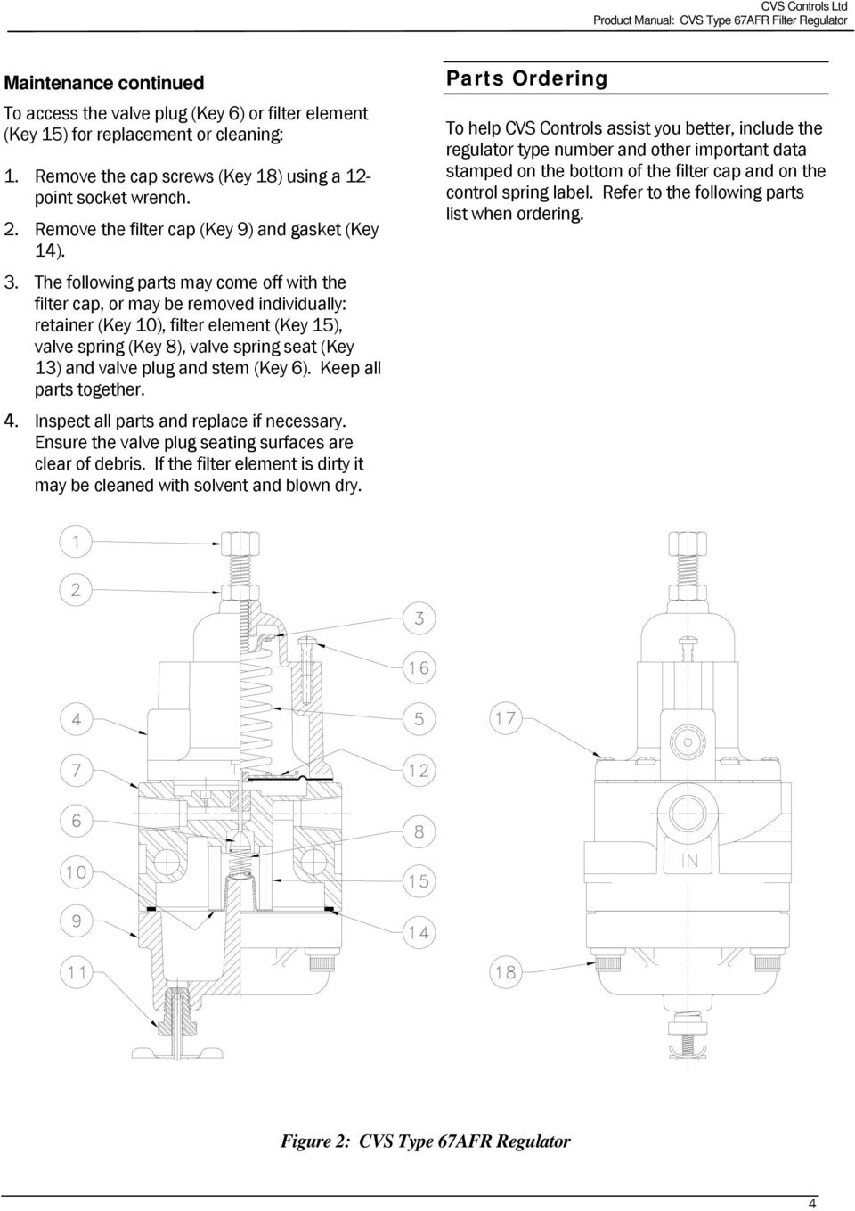 Product Manual Cvs Type 67afr Filter Regulator Introduction Cap Schematic The Following Parts May Come Off With Or Be Removed Individually