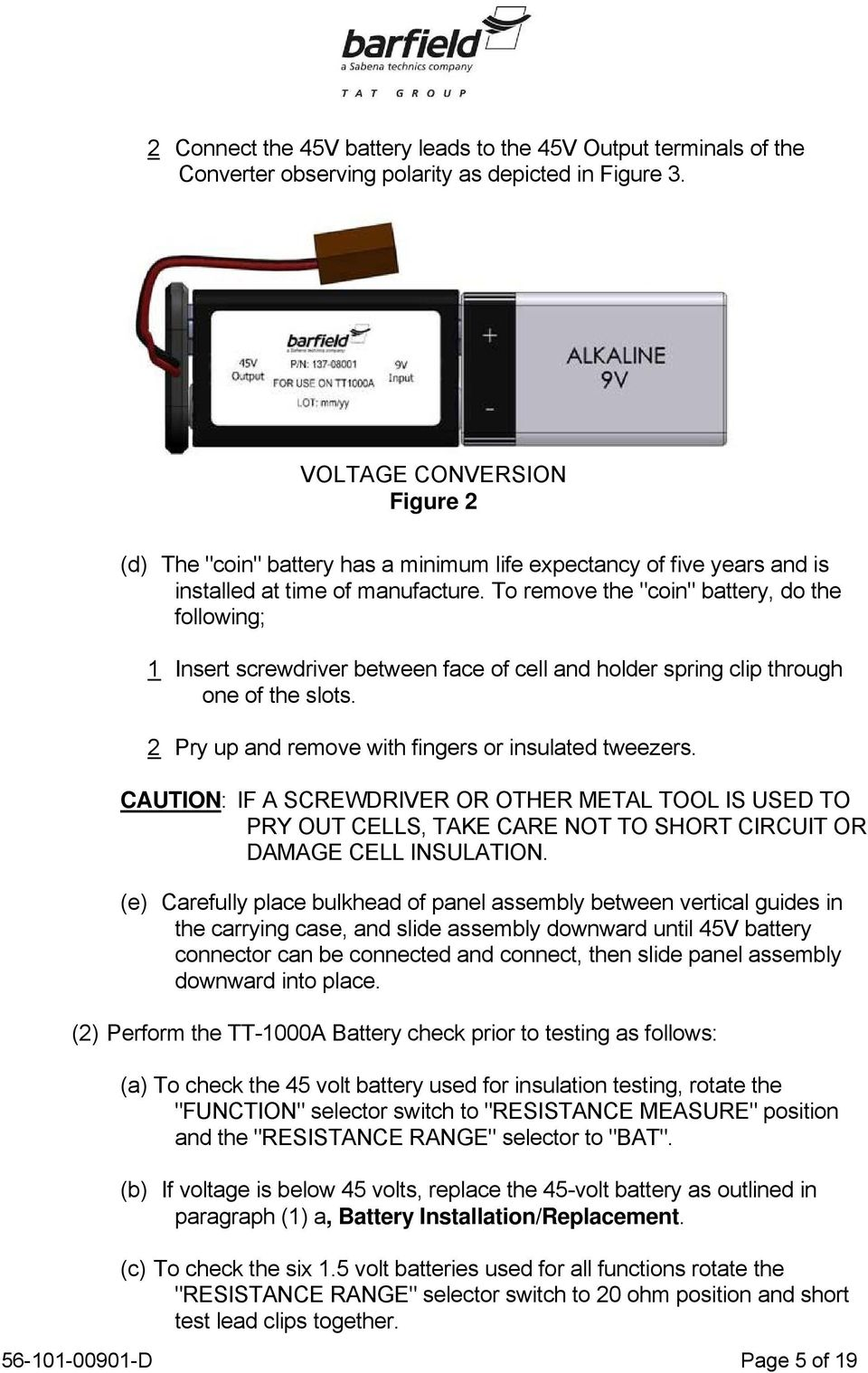 Tt 1000a Turbine Temperature Test Set User Instruction Manual M N The Output Voltage Is Determined By Rotating A Selector Switch S2 To Remove Coin Battery Do Following 1 Insert Screwdriver Between