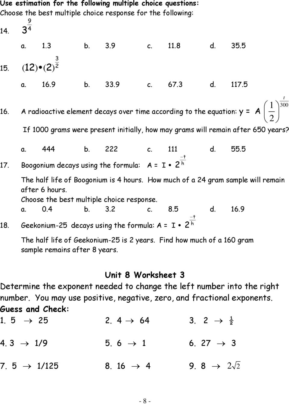 Workbooks zero and negative exponents worksheets : Algebra 2 Unit 8 (Chapter 7) CALCULATORS ARE NOT ALLOWED - PDF
