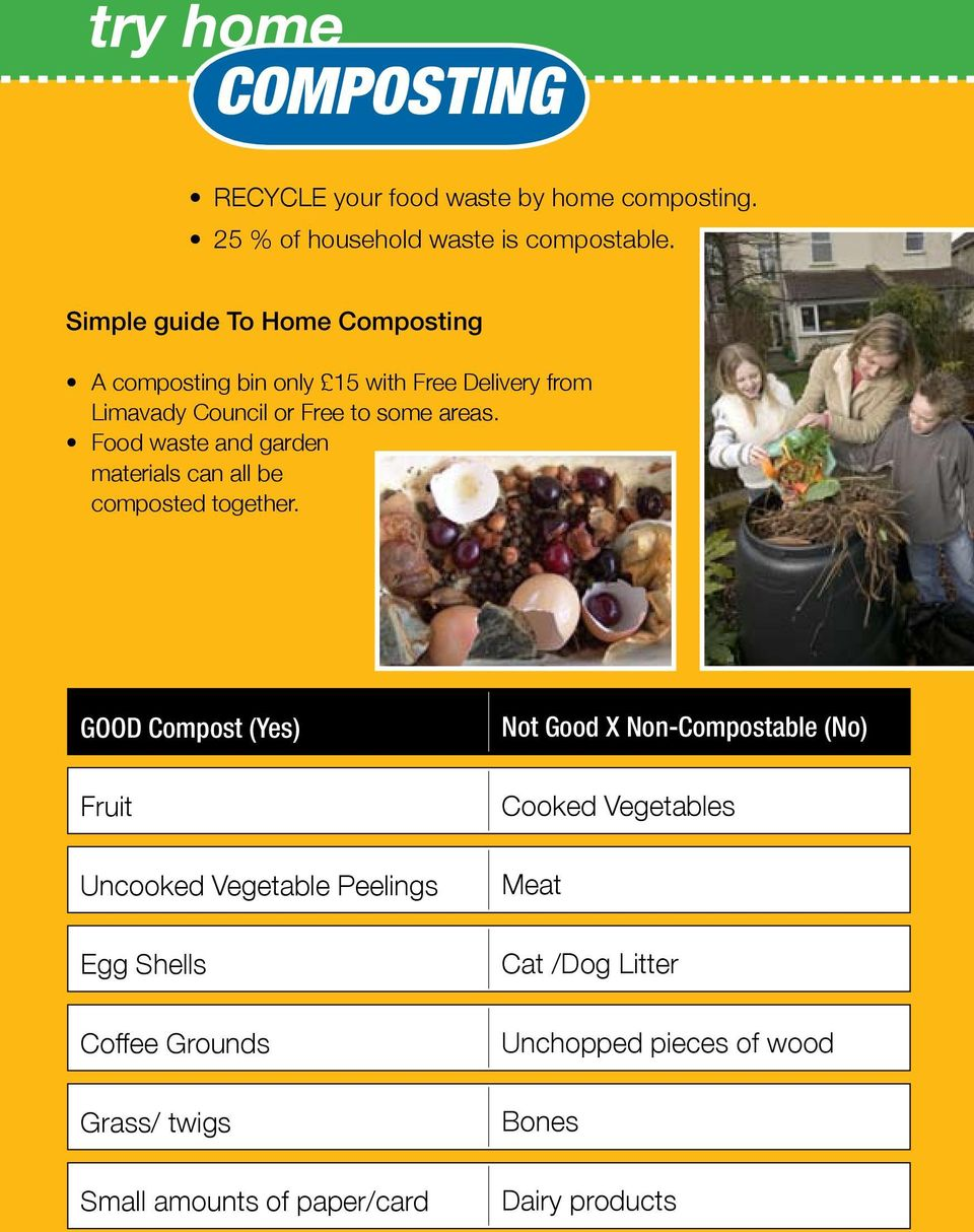 Food waste and garden materials can all be composted together.