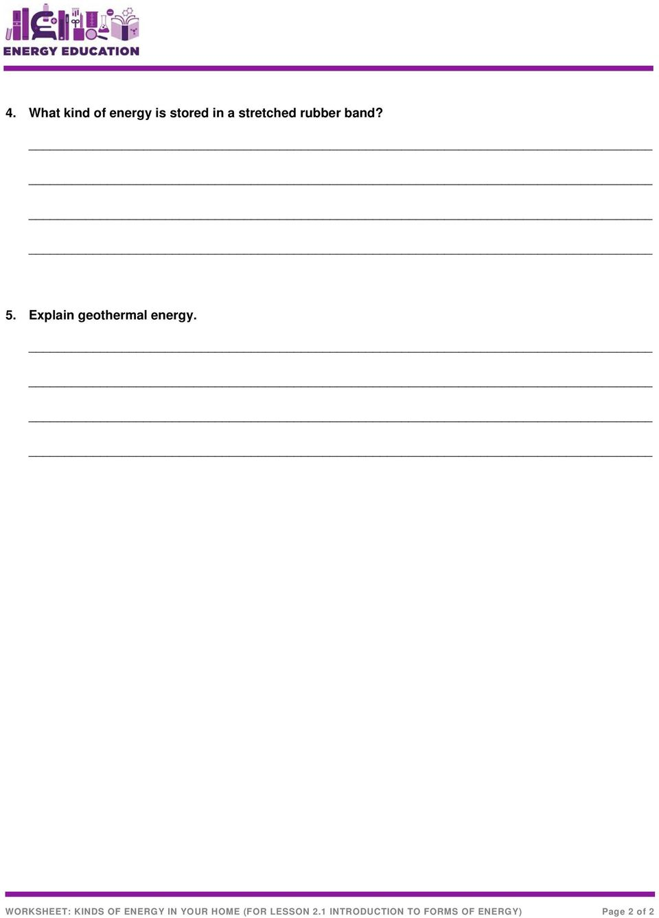 WORKSHEET: KINDS OF ENERGY IN YOUR HOME (FOR