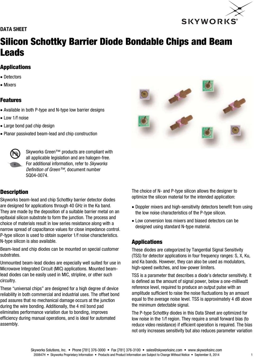 Silicon Schottky Barrier Diode Bondable Chips and Beam Leads - PDF