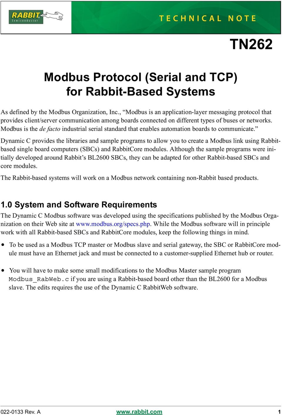 Modbus Protocol (Serial and TCP) for Rabbit-Based Systems - PDF