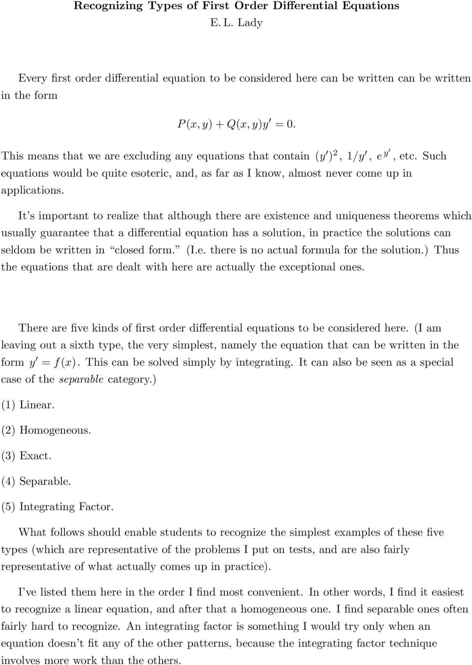 Recognizing Types of First Order Differential Equations
