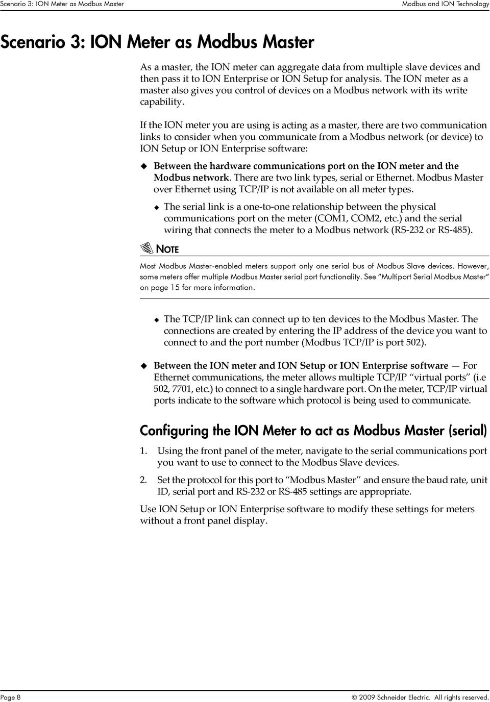 Modbus And Ion Technology Pdf Rs232 Rs485 Wiring If The Meter You Are Using Is Acting As A Master There Two