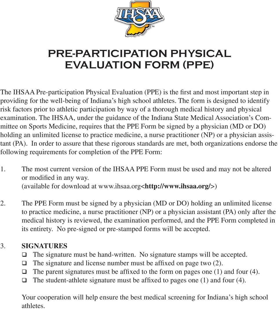 sports physical form pennsylvania  PRE-PARTICIPATION PHYSICAL EVALUATION FORM (PPE) - PDF Free ...