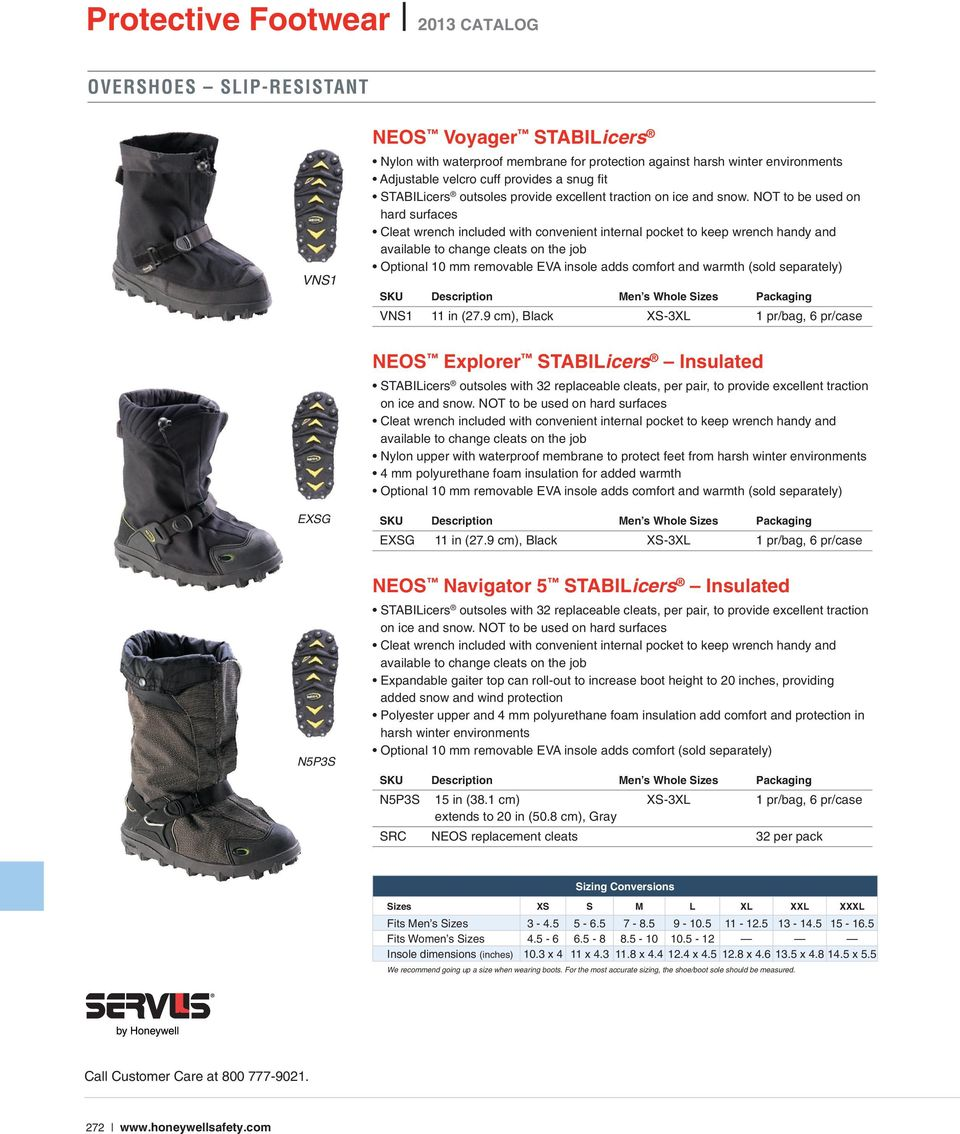 1 pair Sperian Protection Group VNS1-BLK-LRG STABILicers Voyager Overshoe Traction Ice Cleat for Snow and Ice