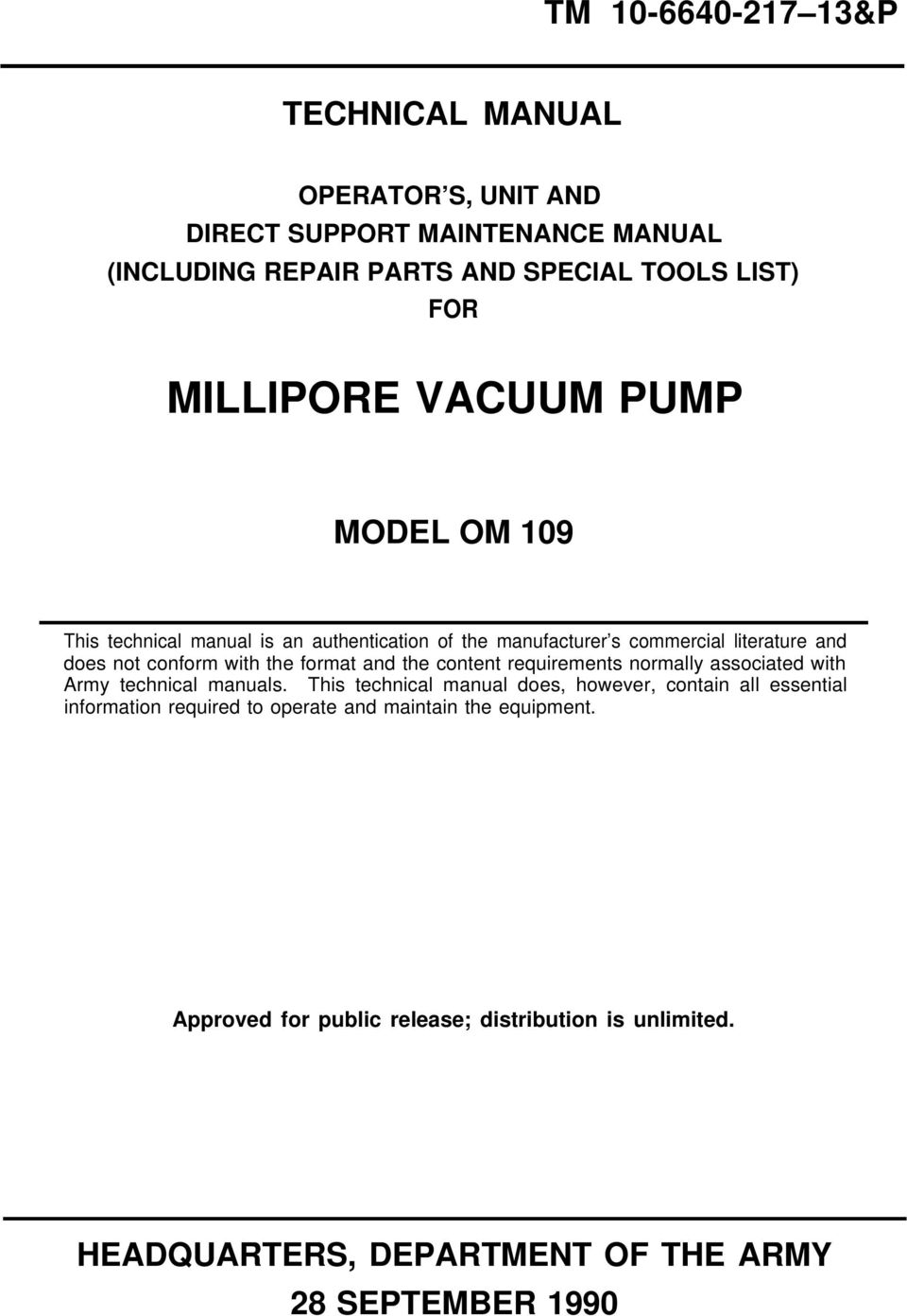 Millipore vacuum pump pdf format and the content requirements normally associated with army technical manuals ccuart Choice Image