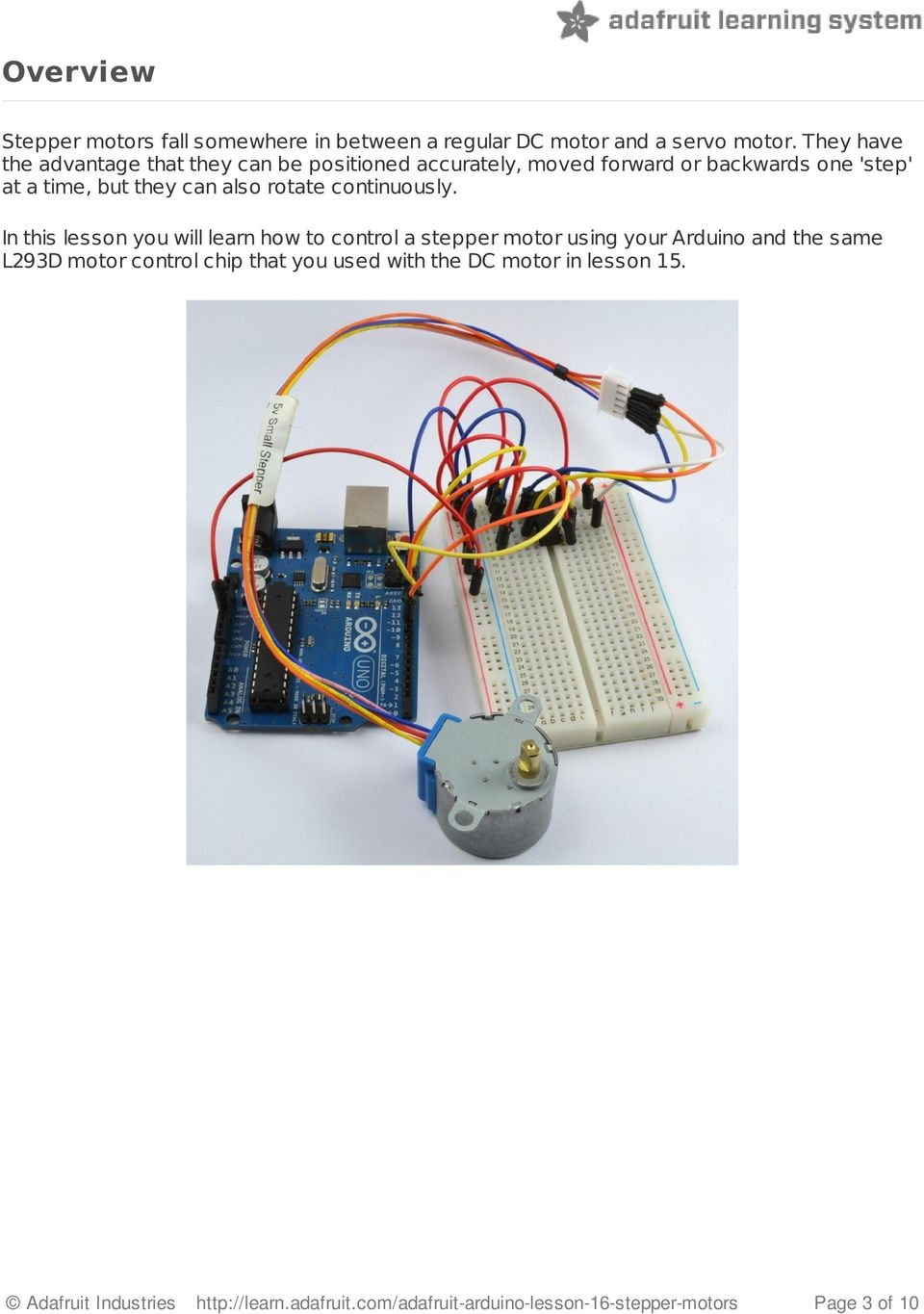 Arduino Lesson 16 Stepper Motors Pdf Motor Wiring Also Rotate Continuously
