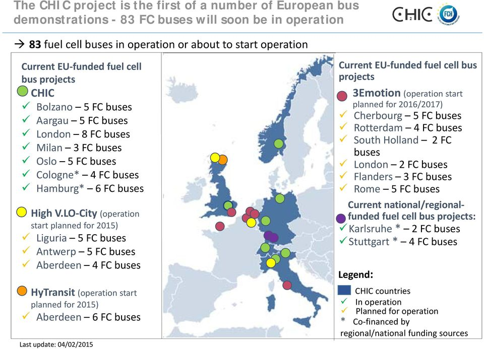 LO City (operation start planned for 2015) Liguria 5 FC buses Antwerp 5 FC buses Aberdeen 4 FC buses HyTransit (operation start planned for 2015) Aberdeen 6 FC buses Last update: 04/02/2015 Current