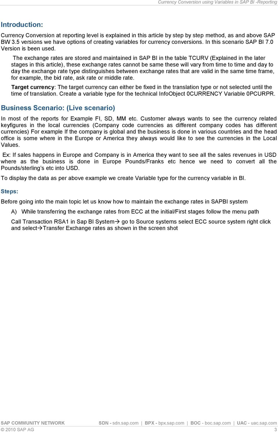 Currency Conversion using Variables in SAP BI -Reporting - PDF