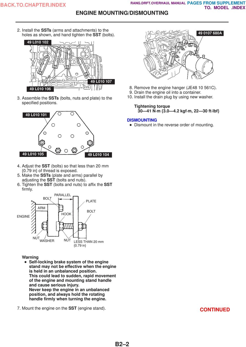 Ranger Drifter Overhaul Manual Pdf 2004 Mazda 6 3 0 Engine Diagram Tightening Torque 30 41 N M 42 Kgf 22 Ft Lbf