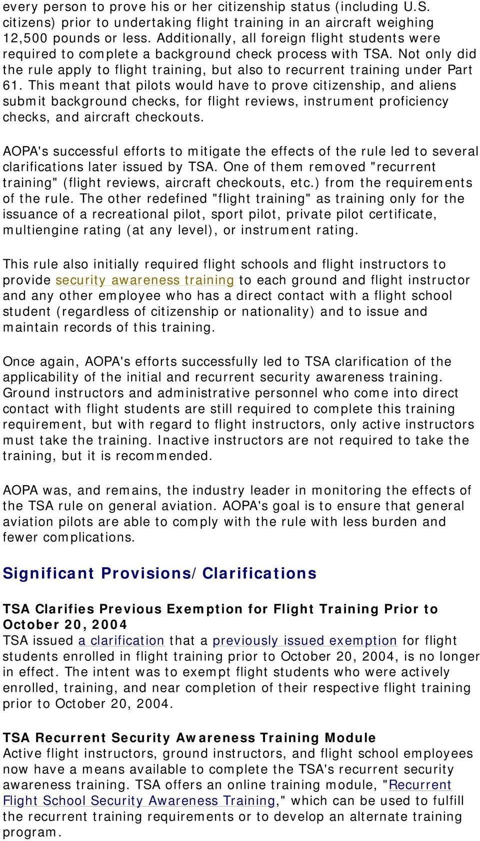 AOPA's Guide to TSA's Alien Flight Training/Citizenship