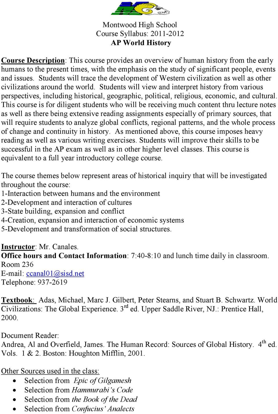 Montwood High School Course Syllabus: AP World History - PDF