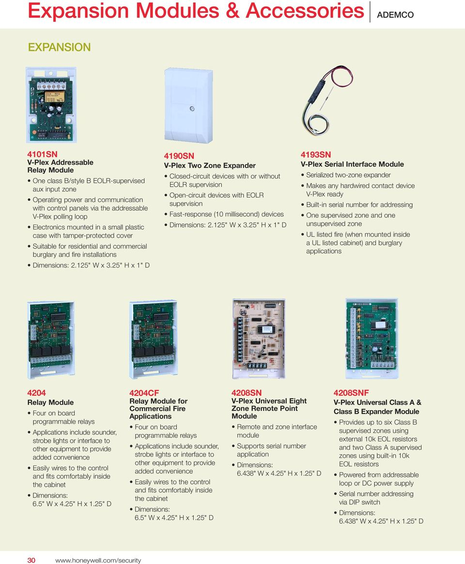 Expansion Modules Accessories Pdf Mobile Phone Circuit Board Logos Serials 25 H X 1 D 4190sn V Plex Two Zone Expander Closed