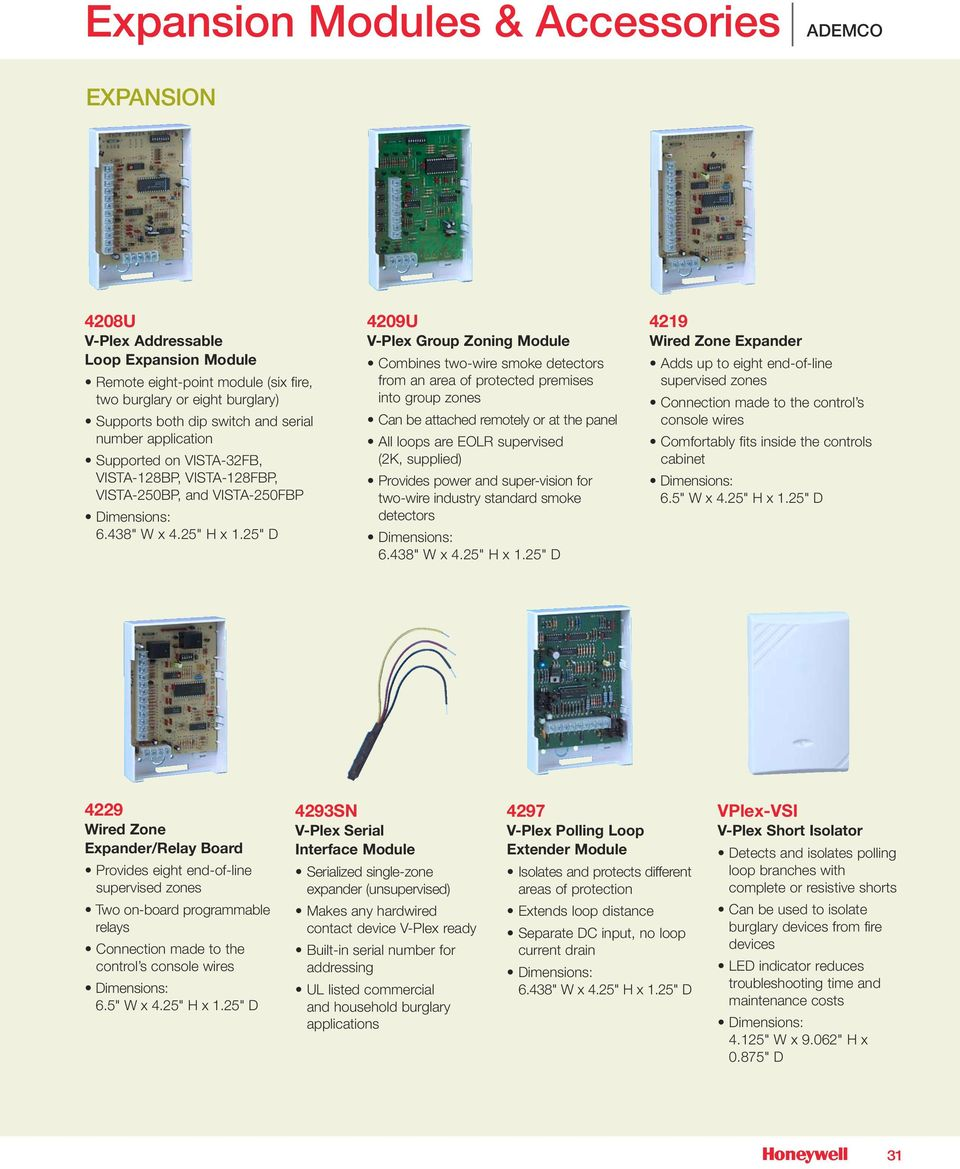 Expansion Modules Accessories Pdf Ademco Vista 128bp Wiring Diagrams Attached Remotely Or At The Panel All Loops Are Eolr Supervised 2k Supplied