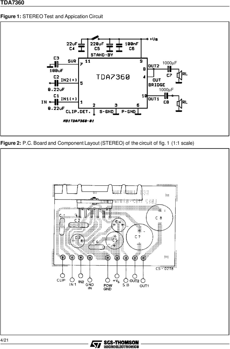 Tda W Bridge Stereo Audio Amplifier With Clipping Detector Pdf And Cheap Systems 32w Hi Fi Circuit Diagram Board Component Layout