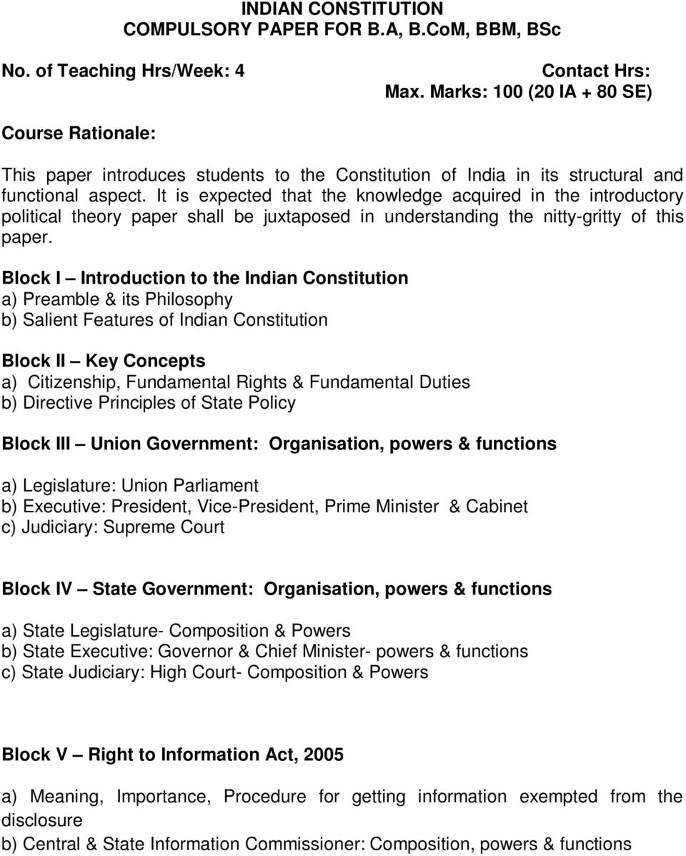 FUNDAMENTALS OF POLITICAL SCIENCE  Ist Semester  No  of