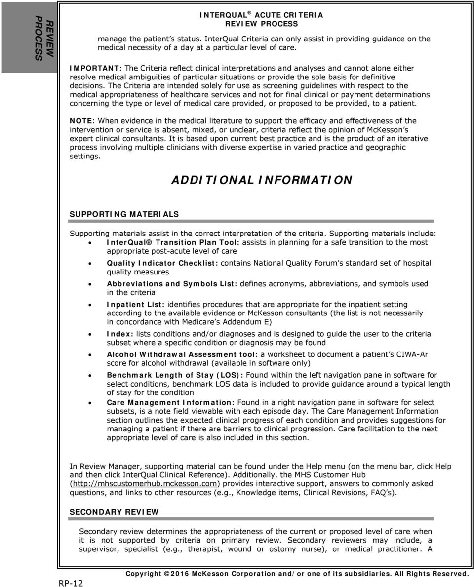 interqual guidelines for admission 2014