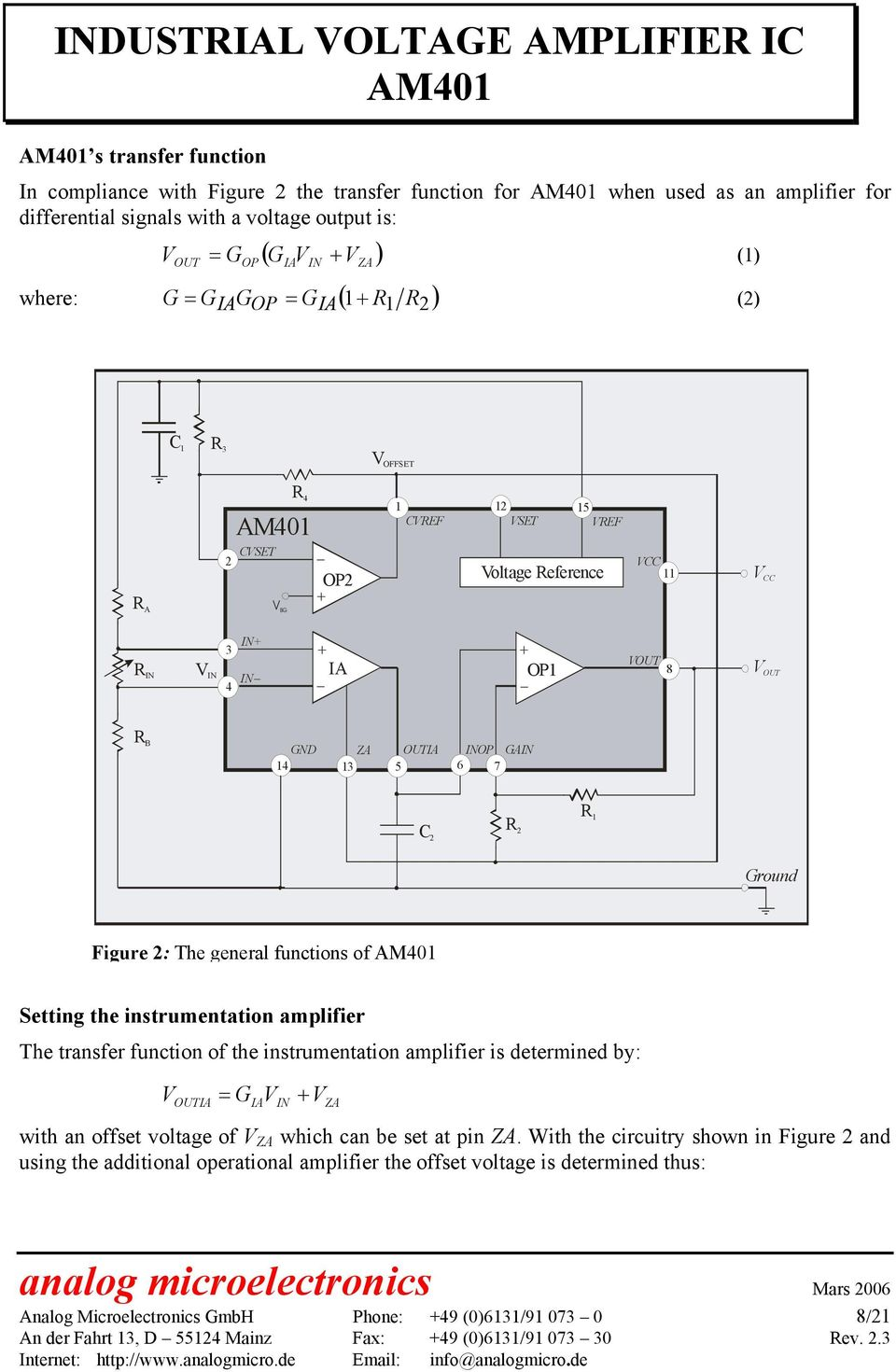Industrial Voltage Amplifier Ic Am401 Principle Function Pdf Regulated Power Supply Circuit Diagram Composed Of Ca723c The General Functions Setting Instrumentation Transfer Is