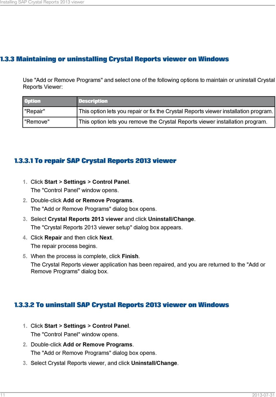 SAP Crystal Reports Viewer Installation Guide SAP Crystal