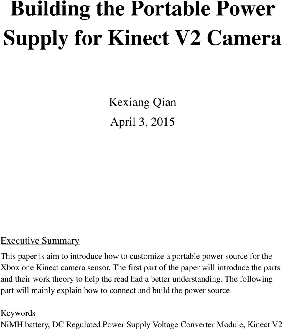 Building the Portable Power Supply for Kinect V2 Camera - PDF