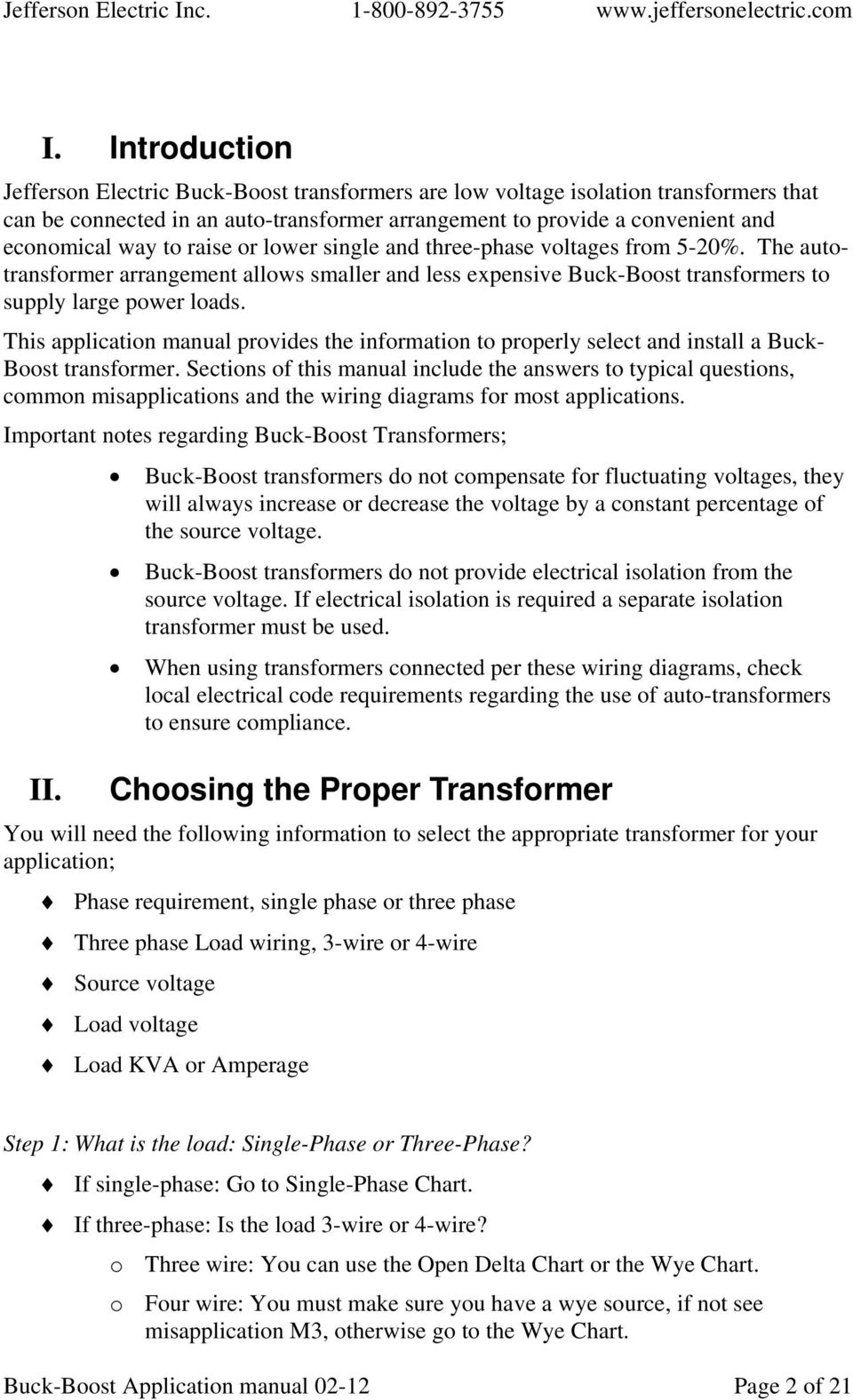 Jefferson Electric Inc Buck Boost Transformer Application Manual Pdf 3 Wire Wiring Diagram This Provides The Information To Properly Select And Install A