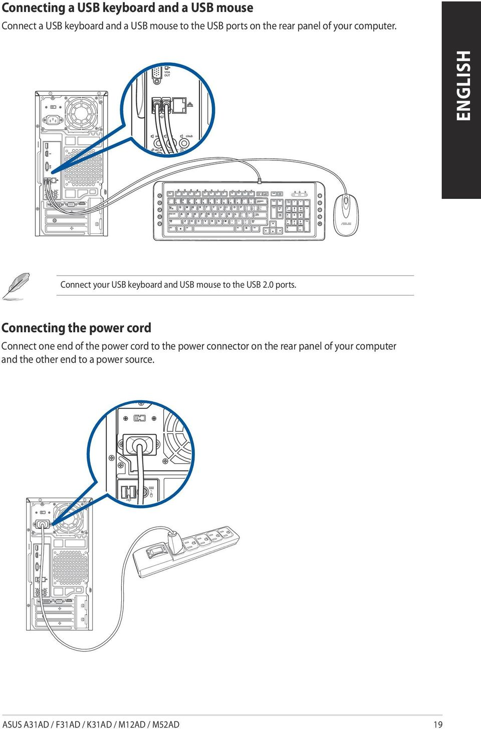 Asus Desktop Pc A31ad F31ad K31ad M12ad And M52ad User Guide Pdf Power Cord Wiring Diagram Connecting The Connect One End Of To Connector On