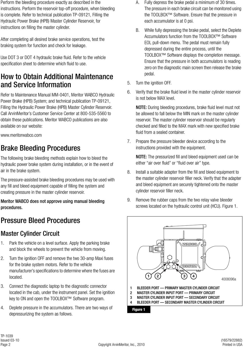 Meritor Wabco Hydraulic Power Brake Hpb System Bleeding Procedures Form Below To Delete This Basic Circuit Image From Our Index After Completing All Desired Service Operations Test The Braking For Function And Check