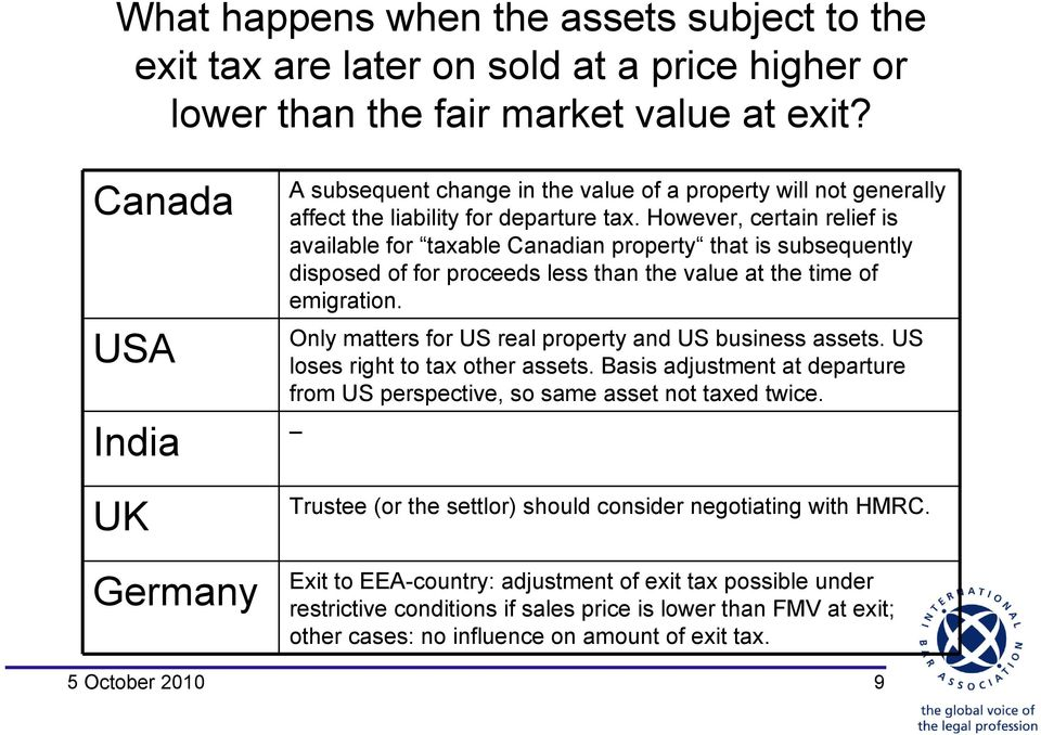 However, certain relief is available for taxable Canadian property that is subsequently disposed of for proceeds less than the value at the time of emigration.