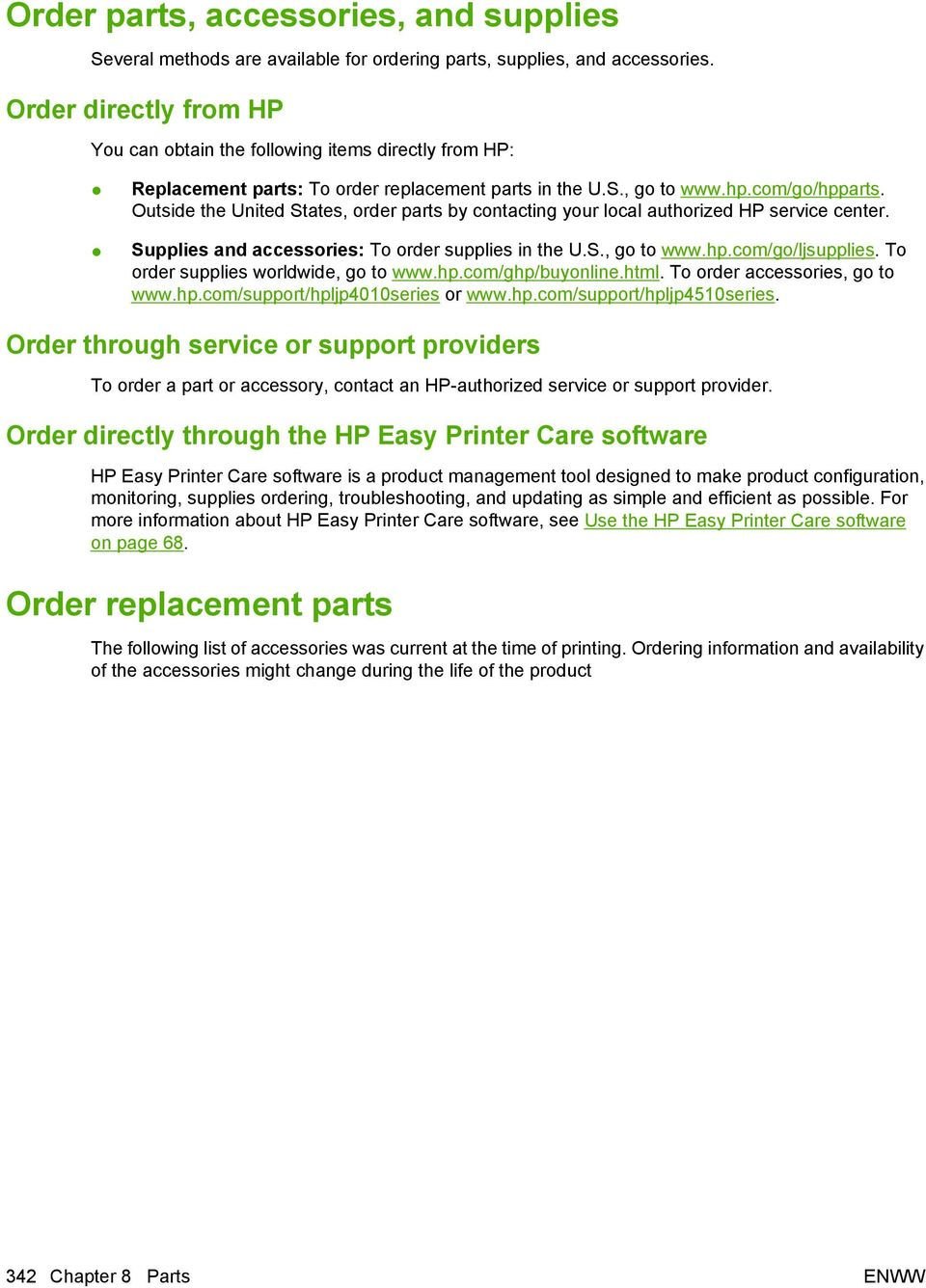 8 Parts  Order parts, accessories, and supplies  Order replacement