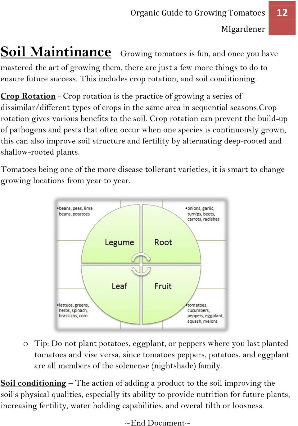 crop rotation gives various benefits to the soil.