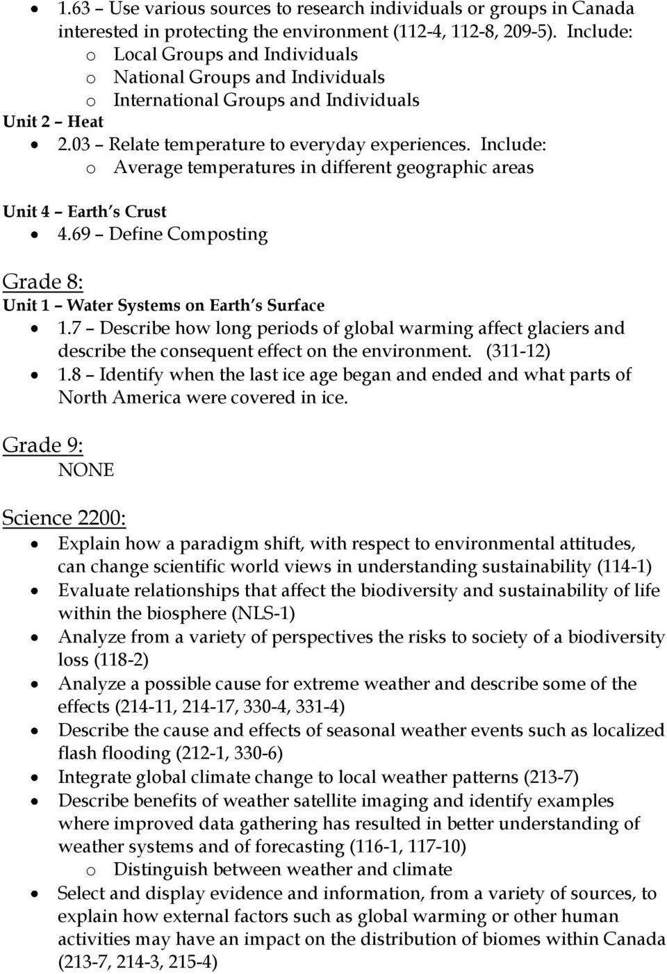 Include: o Average temperatures in different geographic areas Unit 4 Earth s Crust 4.69 Define Composting Grade 8: Unit 1 Water Systems on Earth s Surface 1.