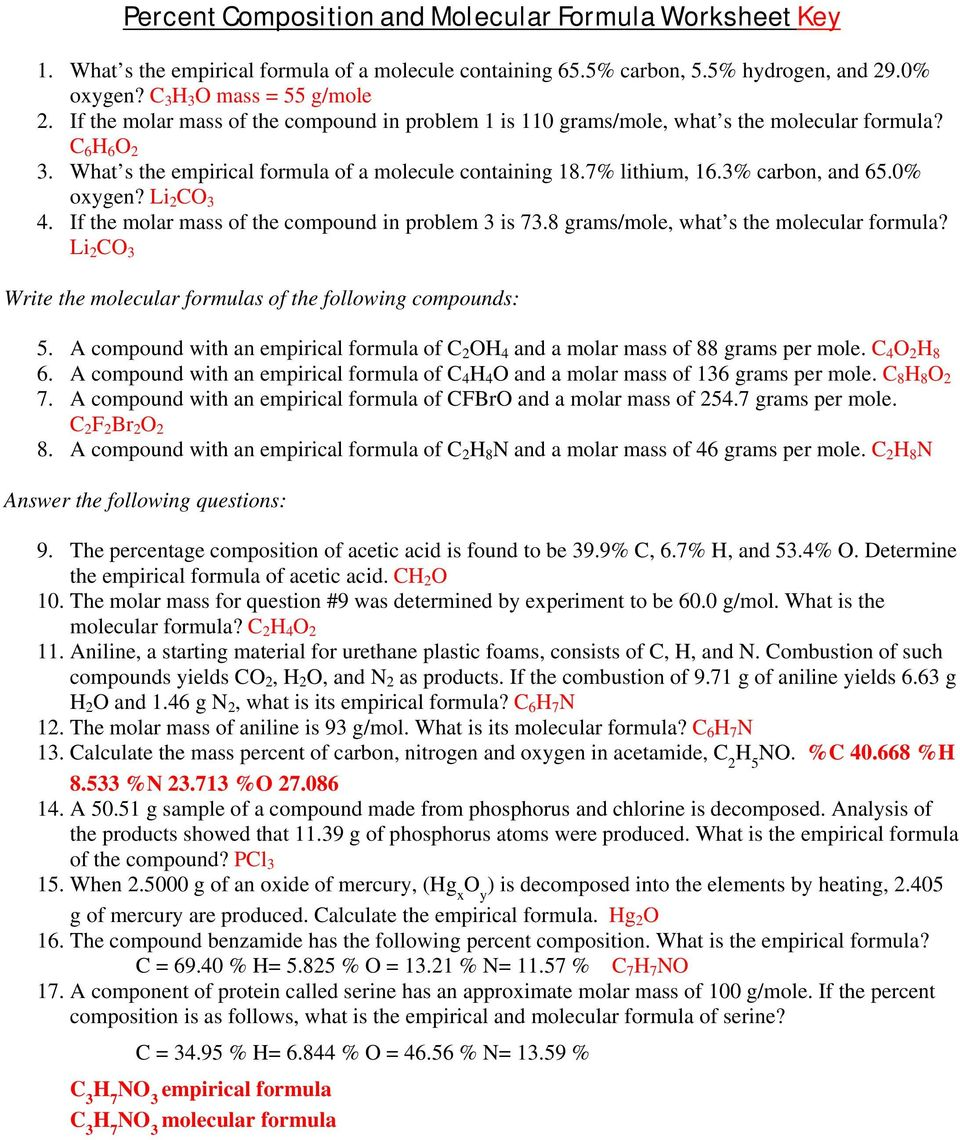 Percent Composition and Molecular Formula Worksheet - PDF ...