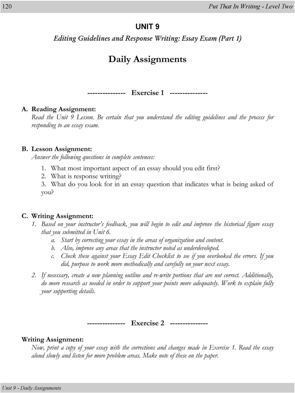 Lesson: Editing Guidelines and Response Writing: Essay Exam