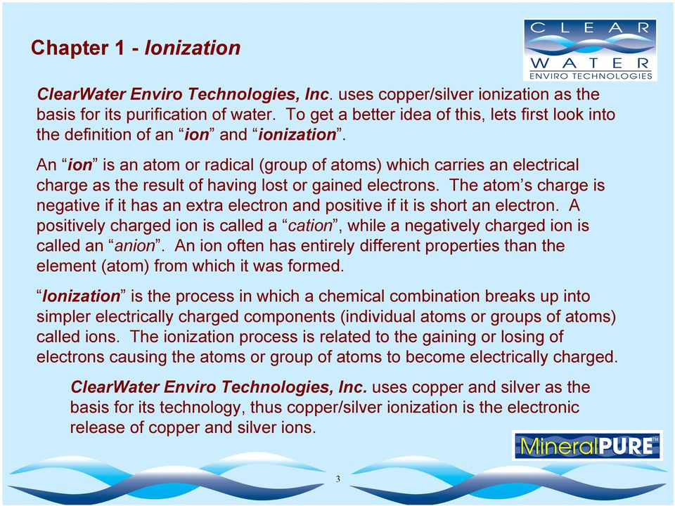 The Principles of Water Disinfection by Copper / Silver