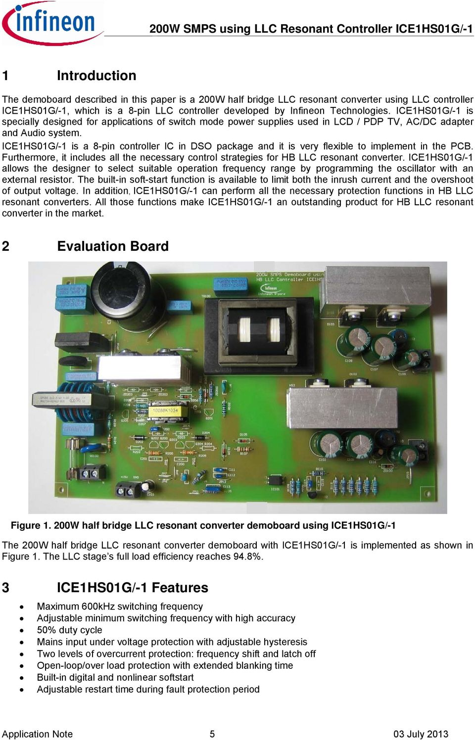 Application Note Evalhs Ice1hs01g 200w Smps Evaluation Board Using Voltage Ac Dc 15v Circuit View Icehs0g Is A 8 Pin Controller Ic In Dso Package And It 6 Technical Specification 00w