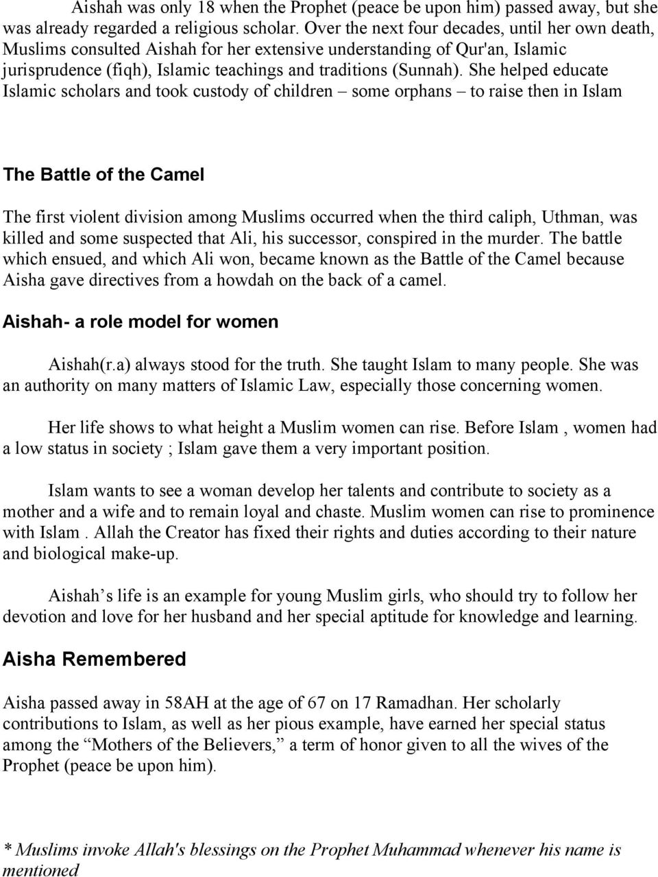 Aisha - Youngest Wife of the Prophet Muhammad - PDF