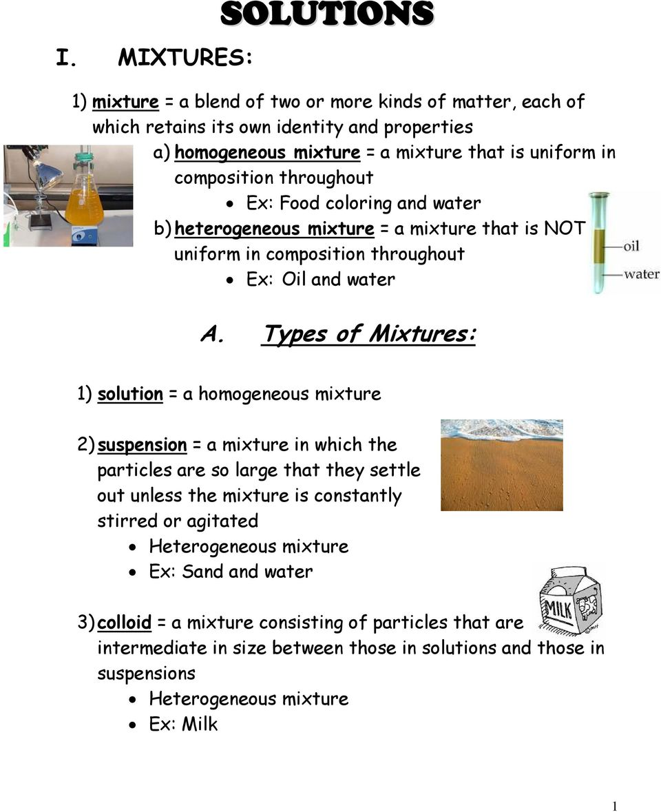 A Types Of Mixtures Pdf