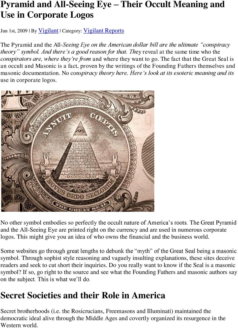 Pyramid And All Seeing Eye Their Occult Meaning And Use In Corporate