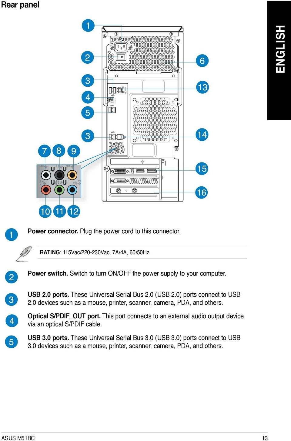 Asus Desktop Pc M51bc User Manual Pdf Usb Cable Wiring Diagram 0 Devices Such As A Mouse Printer Scanner Camera Pda And