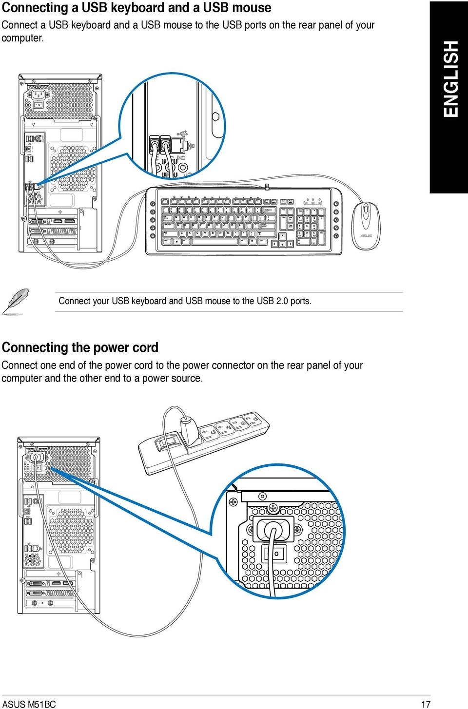 Asus Desktop Pc M51bc User Manual Pdf Usb Cable Wiring Diagram Spdif Out Connect Your Keyboard And Mouse To The 20 Ports