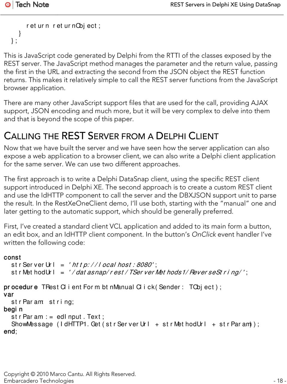 REST Servers in Delphi XE Using DataSnap - PDF
