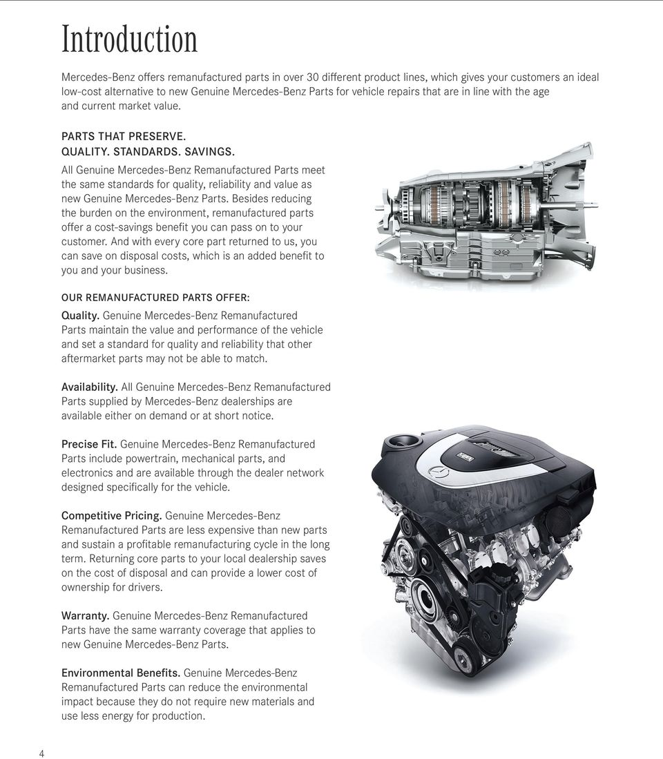 All Genuine Mercedes Benz Remanufactured Parts Meet The Same Standards For  Quality, Reliability And