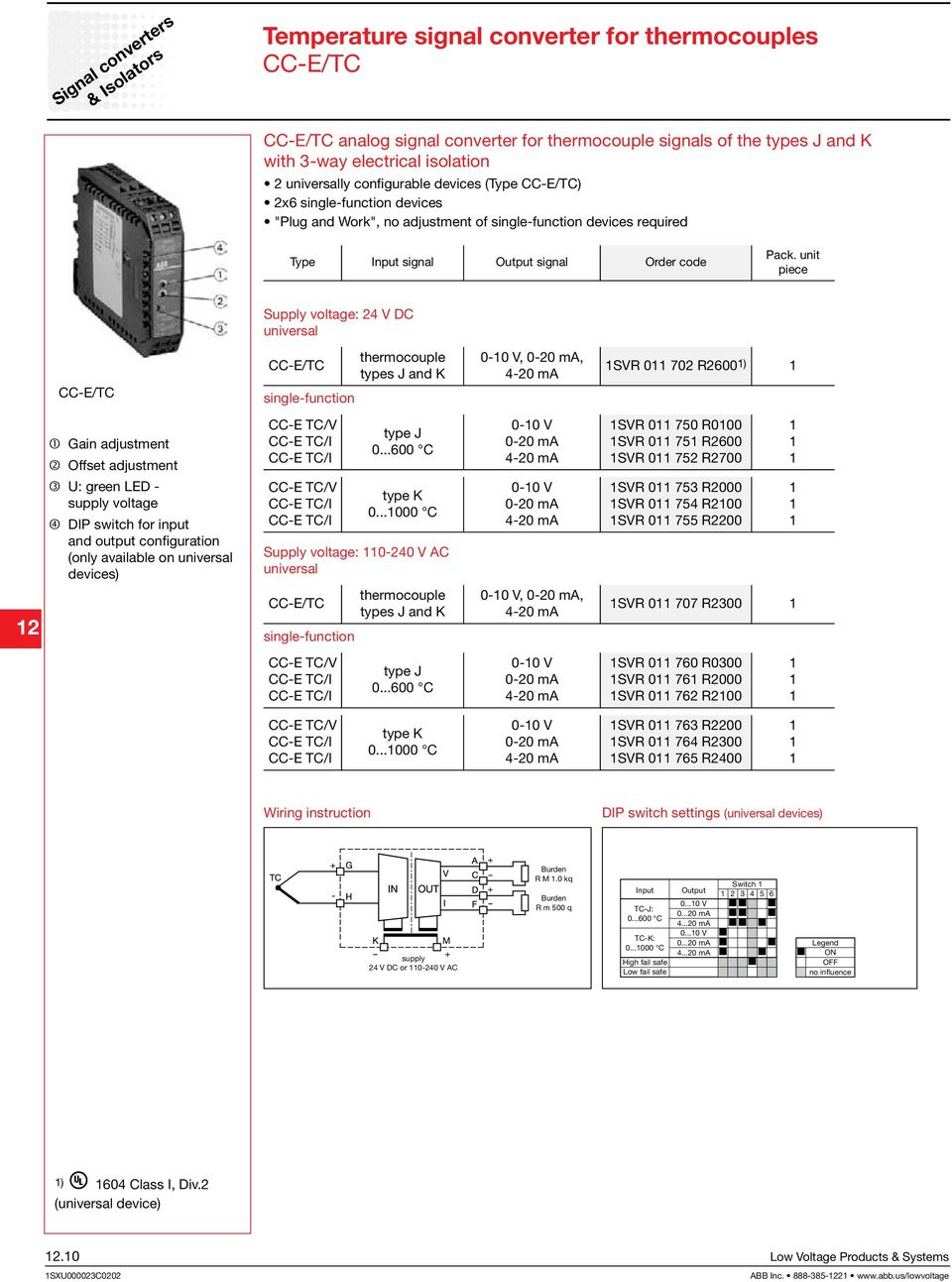 V DC universal CC-E/TC CC-E/TC single-function thermocouple types J and K - V,, SVR 72 R26 ) 2 Gain adjustment Offset adjustment U: green LED - supply voltage DIP switch for input and output
